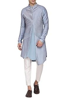 Sky Blue Textured Kurta with Churidar Pants by Soltee By Sulakshana Monga Men