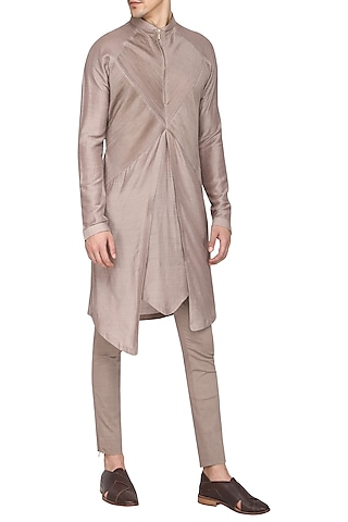 Khaki Textured Kurta with Churidar Pants by Soltee By Sulakshana Monga Men