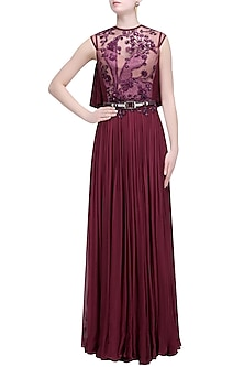 Wine Thread and Sequins Embroidered Long Pleated Flared Gown by Soltee By Sulakshana Monga