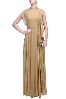 Beige Embroidered Ruffled Long Dress by Soltee By Sulakshana Monga