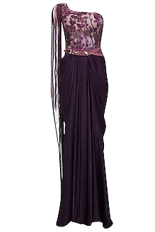 Wine and Purple Embroidered One Shoulder Gown by Soltee By Sulakshana Monga
