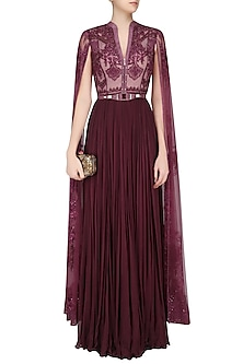 Wine Sequins and Beads Embroidered Cape Sleeves Gown by Soltee By Sulakshana Monga