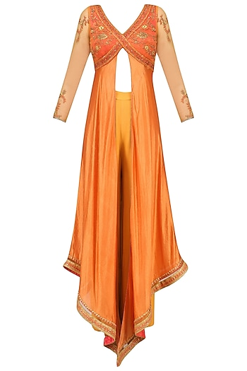 Orange Floral Embroidered Asymmetric Kurta and Palazzo Pants Set by Soltee By Sulakshana Monga