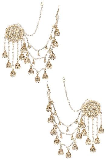 Gold Plated Kundan and Pearls Jhumki Drops Earrings by Soranam