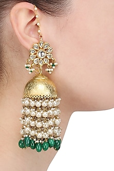 Gold Finish Kundan and Pearl Jhumki Earrings by Soranam