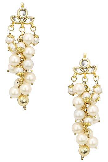 Gold Finish Pearl and Ghungroo Flower Earrings by Soranam