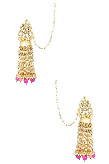 Gold Finish Kundan and Champagne Pearls Jhumki Earrings by Soranam
