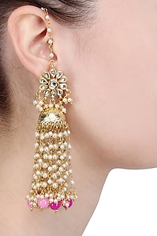 Gold Finish Kundan and Champagne Pearls Jhumki Earrings by Soranam