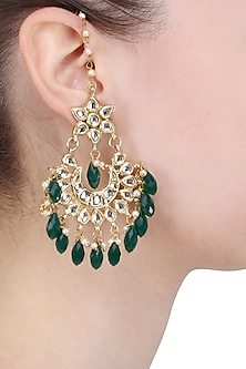 Gold Finish Kundan, ​Green​ Stones and Pearl Big Crescent Earrings