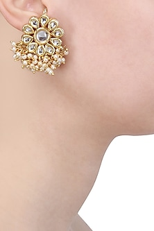 Gold Finish Kundan and Pearl Flower Stud Earrings by Soranam