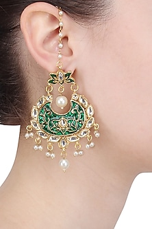 Gold Finish Green Meenakari Work Crescent Earrings by Soranam