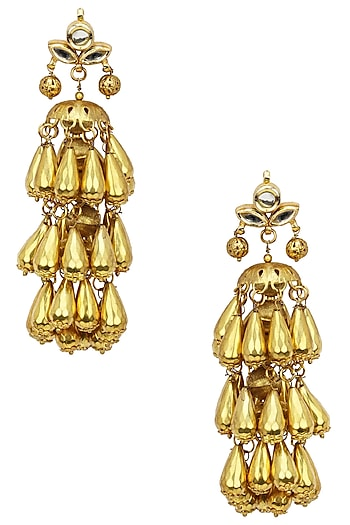 Gold Finish Kundan and Bead Earrings by Soranam