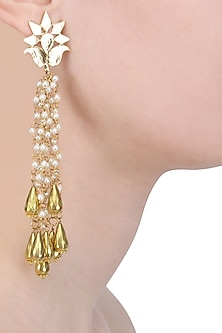 Gold Finish Pearl and Beads Lotus Earrings by Soranam