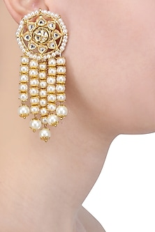 Gold Finish Kundan and Pearl Round Earrings by Soranam