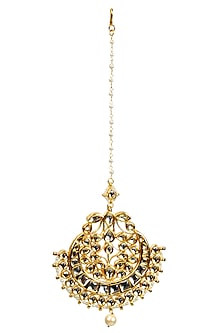 Gold plated pearl string maang tika with kundan stones and single faux pearl drop by Soranam