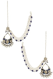 Gold Finish Kundan Blue Enamel Tear Drop Earrings by Soranam