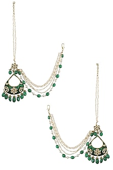 Gold Finish Kundan Emerald Enamel Tear Drop Earrings by Soranam