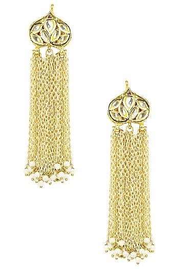Gold Finish Tassel Earrings by Soranam