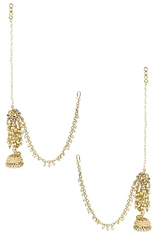 Gold Finish Kundan and Cutwork Beads Floral Earrings by Soranam