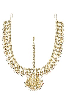 Gold Finish Kundan Stone Double String Matha Patti by Soranam