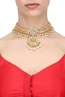 Gold Finish Kundan and Pearl Beads Bridal Necklace by Soranam