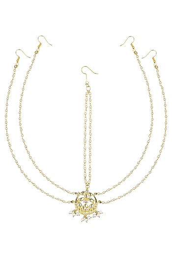 Gold Finish Crescent Motif Double Chain Matha Patti by Soranam