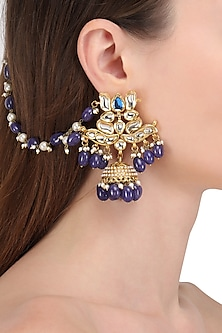 Gold Finish Kundan and Blue Beads Earrings with Extended Chain by Soranam