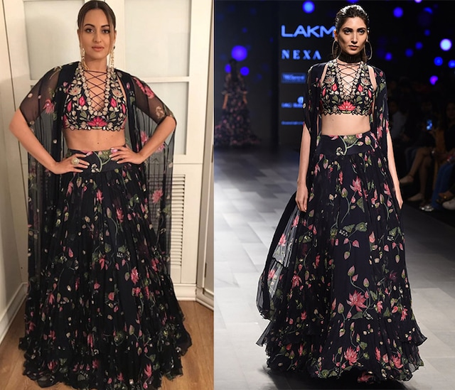 Midnight Blue Floral Printed Skirt and Cape Set by Arpita Mehta