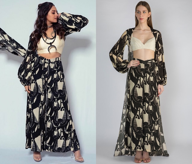 Black Printed Cape With Palazzo Pants & Ivory Embellished Bustier by Masaba