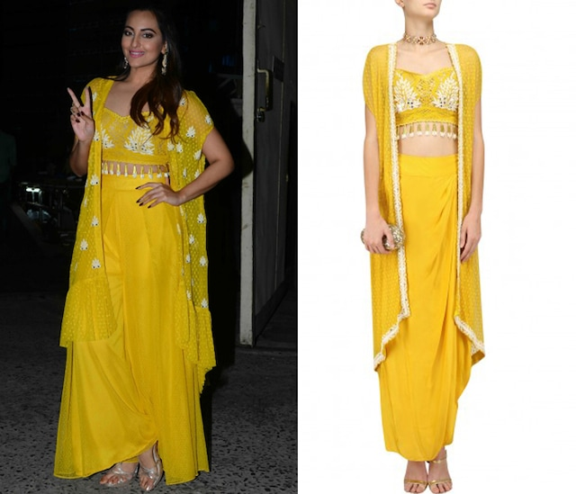 Yellow Pinflower Embroidered Blouse, Jacket and Tulip Skirt Set by Arpita Mehta