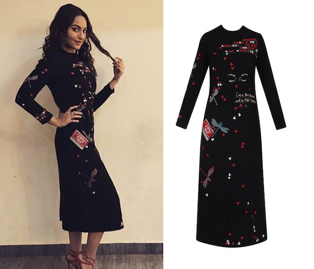 Black Butterfly, Kitkat, Quote and Hearts Embroidered Long Dress by Shahin Mannan