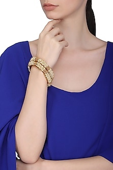 Set Of 2 Gold Plated Pearl Studded Bangles by Sona