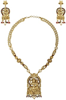 Gold Plated Shiv-Parvathi Motif Necklace Set 