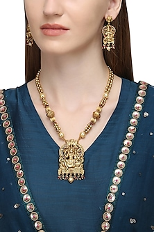 Gold Plated Shiv-Parvathi Motif Necklace Set   by Sona