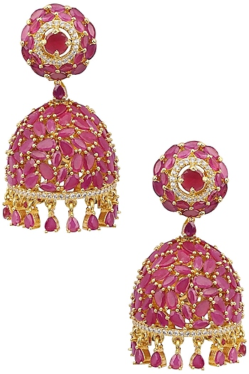 Gold Plated Red Semi-Precious Stone Earrings by Sona