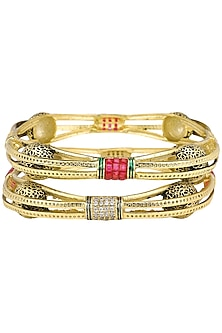 Set Of 2 Gold Plated Multi Color Stones and Pearls Studded Bangles by Sona