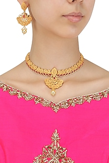 Matt Gold Plated Red Stone Spiral Motifs Necklace Set by Sona