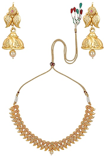Matt Gold Plated Multicolor Stones Paisley Motifs Necklace Set by Sona
