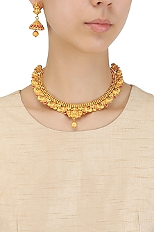 Matt Gold Plated Goddess Pendant Necklace Set by Sona