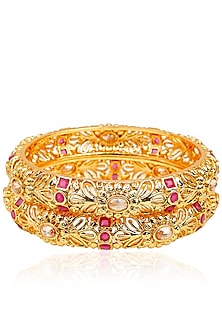 Set Of 2 Matt Gold Plated Red Stone Cutwork Bangles by Sona