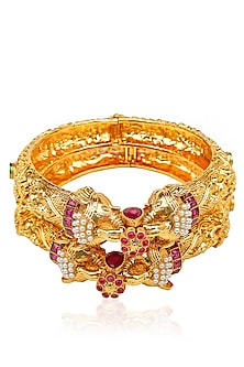 Set Of 2 Matt Gold Plated Elephant Face Motif Bangles by Sona