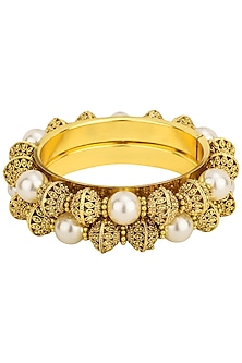 Gold Plated Big Pearl Bangles by Sona