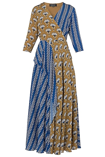Blue and Mustard Printed Maxi Dress by Soup by Sougat Paul