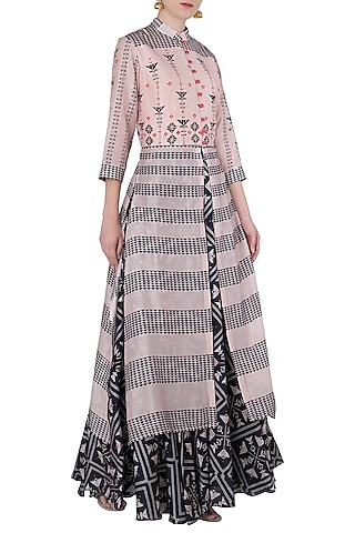 Blue and Pink Printed and Embroidered Lehenga Set by Soup by Sougat Paul