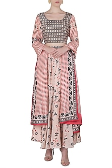 Pink and Navy Blue Printed Lehenga Set by Soup by Sougat Paul