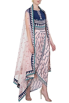 Pink and Blue Printed Drape Dress with An Embroidered Cape by Soup by Sougat Paul-Shop By Style