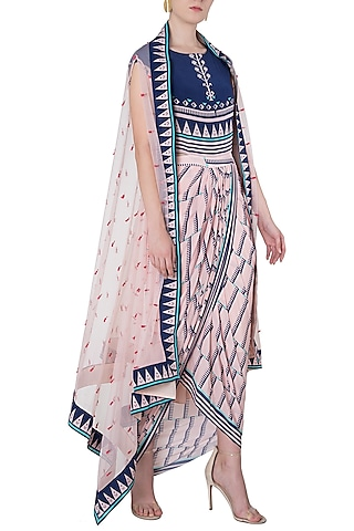 Pink and Blue Printed Drape Dress with An Embroidered Cape by Soup by Sougat Paul