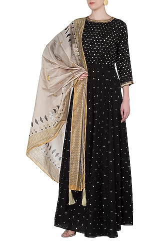 Yellow and brown embroidered long tunic with printed dupatta  by Soup by Sougat Paul