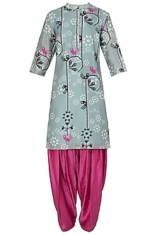 Grey and Pink Floral Printed Kurta Set by Soup by Sougat Paul