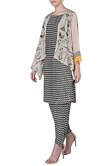 Black and Beige Printed Jacket with Kurta and Pants by Soup by Sougat Paul